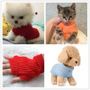 Dog Puppy Knitted Sweater Kitten Warm Coat Jumper- 6 colors - XXXXS XXXS XXS XS