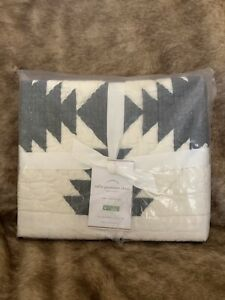 Pottery Barn Tallie Geo Geometric One (1) Euro Quilted Sham Ivory Charcoal Black