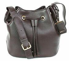 DKNY Donna Karan Bucket Shoulder Bag Dark Brown Pebbled Leather Medium RRP £225