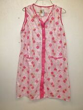 NWT Womens Pink Floral Sleeveless Duster/Robe-M-Button Front