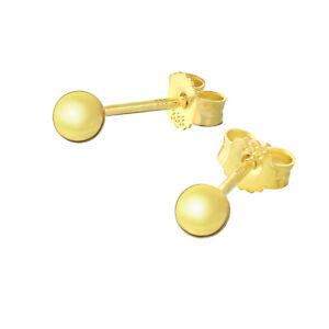 Paar 3mm Kugel Ohrstecker 8 Karat 333 Gelbgold Glanz Damen Stecker Ohrringe 9058