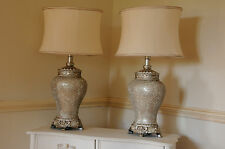 Pair of Large Table Lamps 79cm Height Champagne Sparkle Mosaic Base Ivory Shade