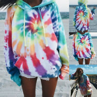 Women Tie-Dye Printed Hoodies Pullover Casual Long Sleeve Sweatshirts Tops AU