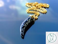 Snowflake Obsidian Gemstone Pendant Pepper Necklace with Chain Healing Chakra