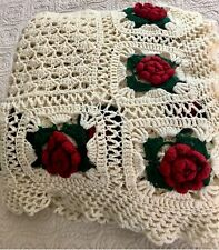 Cream Red Rose Crochet Afghan Blanket Throw Vintage 1960 1970 Full Queen