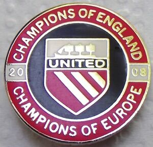 Football -Man United F.C. Champions Of England & Europe 2008 enamel badge