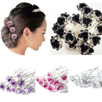 FP- BE_ BL_ 5 Pcs Rose Flower Crystal Wedding Party Bridal Prom Star Hair Pin Cl