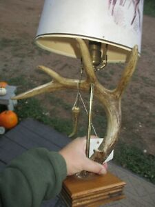 HANDMADE HANDCRAFTED DEER ANTLER LAMP LIGHT CABIN COTTAGE DECOR JEFF KINNER