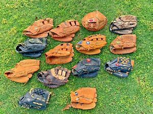 Huge Lot 14 Baseball Gloves Wilson Rawlings Nokona Mizuno Louisville Slugger TPX