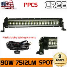 21inch 90W SPOT LED Light Bar Offroad Truck Flashing Strobe 20/22+Wiring Harness