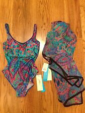 GOTTEX NWT $409  Size 6 One Piece Sierra & Matching 100% Silk Sarong Cover Up