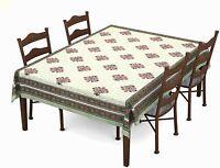 Batik Printed Cotton Rectangular Table Cloth For6,Green & Pink Motif ,Color Vary