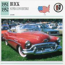 1951-1952 BUICK SUPER CONVERTIBLE Classic Car Photograph / Information Maxi Card