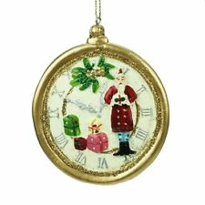 Gisela Graham Santas Pocket Watch Tree Decoration - Santa & Presents - Gold