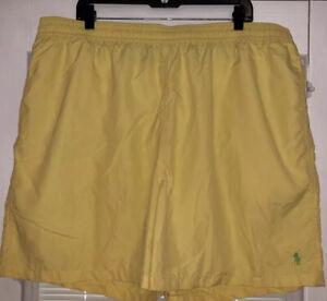 3X Polo Ralph Lauren Mens Yellow Mesh Lined Swim Trunks Shorts Swimwear NWOT