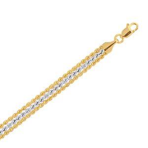 "7 1/4"" Shiny Three Row Rope Two Tone Bracelet REAL 10K Yellow White Gold"