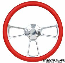 "14"" Aluminum Red Steering Wheel to Hot Rod 3 Bolt Adapter Column Grant"