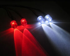 R / C BUGGY AUTO CAMION GRANDI LED Luce Kit / 2x Rosso 2x Bianco 10mm Switch + PP3 clip