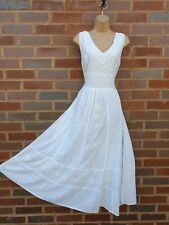 Cotton White Summer Sleeveless Boho Maxi Dress V Neck Embossed Lined 12 14 16