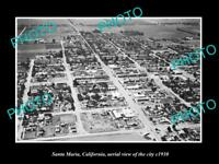 OLD LARGE HISTORIC PHOTO OF SANTA MARIA CALIFORNIA, AERIAL VIEW OF CITY c1930 1