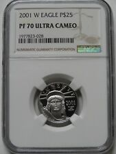 2001-W $25  1/4 oz PLATINUM PROOF EAGLE NGC PF70 ULTRA CAMEO COIN  #028