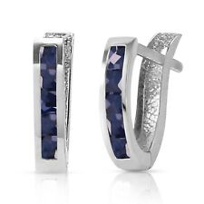 1.3 Ct 14K Solid White Gold Oval Huggie Earrings Sapphire Gemstone Jewelry