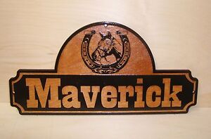 Personalized WOODEN Horse Stall Name Sign.with Laser Engraved Artwork.GIFT.