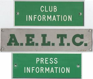 AELTC Wimbledon Lawn Tennis Club Championships door wall notice signs from 1980s