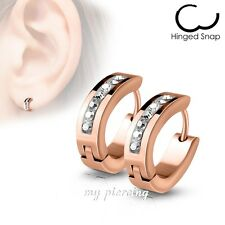 Pair Lined Gem Set Oval Shape IP Surgical Stainless Steel Hoop Huggie Earrings