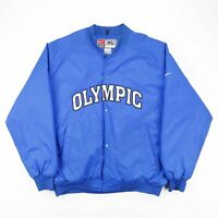 Vintage NIKE Blue Olympic Big Logo Puffer Bomber Jacket Men's Size XL