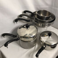 Vintage Farberware USA Stainless Steel Aluminum Clad 8 Piece Set Pre-owned