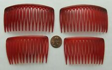 4 Vintage Early GOODY USA 2 Kant-Slip Side Combs Acrylic Tortoise [matched pairs