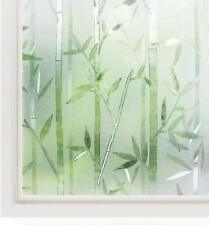 Rabbitgoo Frosted Window Film White Bamboo Pattern Glue Free Decorative Static
