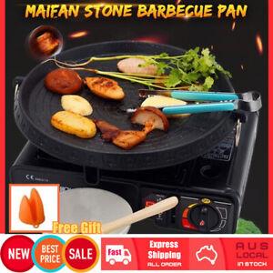 Korean BBQ Grill Plate Non Stick Barbecue Pan Hot Plate Maifan Stone Portable