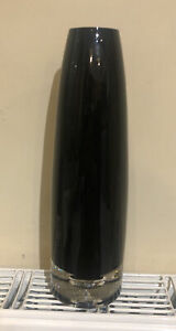 Black Glass Tall Vase 30cm Height Used