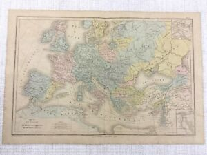 1877 Antique Map of Europe Hand Coloured The Crusades Medieval Middles Ages