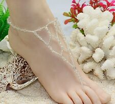 1 Pair Hawaii beach nude foot chain. Foot bracelet anklets jewelry White (Bl08)