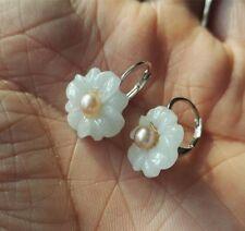 Kultivierten rosa Süßwasser Perle & Jade Blume Ohrringe