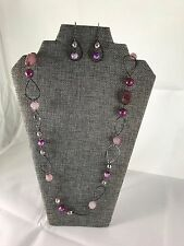 Premier Designs Jewelry Rhapsody Necklace & Earrings Set Purple Black Long Bead