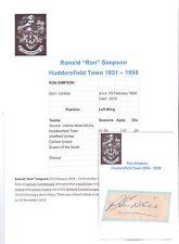 Ron Simpson Huddersfield ville 1951-1958 rare original main signé découpe / carte