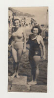 Two Pretty Cute Leggy Women Beach Bikini Swimsuit Lady Female 1940s Old Photo