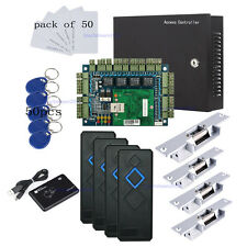 Wiegand 4 Door Access Control Systems Kit Strike Fail Secure NO Lock RFID Reader