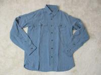 REI Button Up Shirt Adult Small Blue Rayon Blend Outdoors Long Sleeve Mens