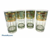 Vintage Set of 4 Cera Roman Arch Grape & Leaf Tumblers 22 K Gold Trim 12 OZ READ