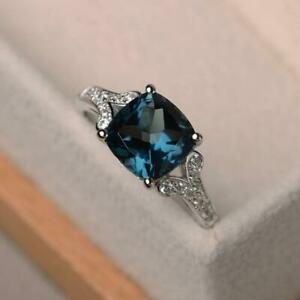 14K White Gold Fn 2.93ct Cushion Cut Blue topaz Special Engagement Ring