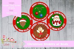 PERSONALISED CHRISTMAS gifts school envelopes STICKERS OR SEALS - 3 SIZES
