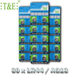 30 X SUPER AG13 LR44 SR44 L1154 A76 1.5V ALKALINE BUTTON BATTERIES
