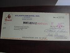 Vintage 1969 Atlanta Braves Cancelled Check to Coca Cola Company