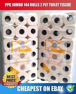 144 ROLLS TOILET TISSUE PPC JUMBO  (4 CASES OF 36 ROLL) PURE WHITE 2 PLY JOBLOT