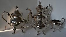 Vtg Silver On Copper Coffee Tea Pot Creamer Sugar Crown Mark Service